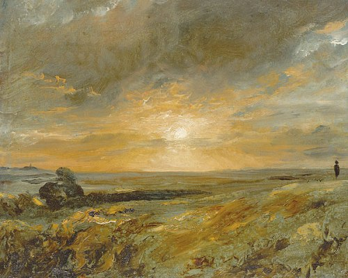 constable hampstead heath, looking towards harrow at sunset 1823